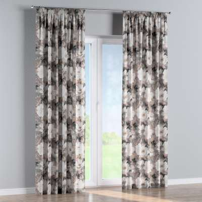 Pencil pleat curtain 142-13 cream and pink floral print on a grey background Collection Gardenia