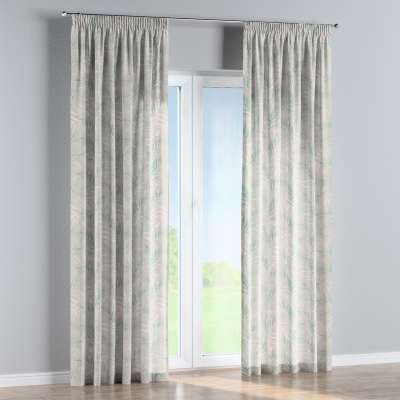 Pencil pleat curtain 142-15 cream and green palm leaves print on a white background Collection Gardenia
