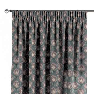 Závěs s řasící páskou 142-17 růžovo-šedé květové motivy na šedém podkladu Kolekce Gardenia