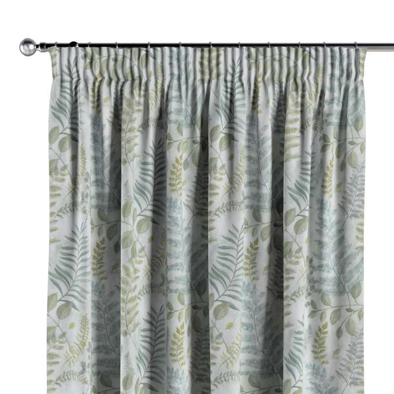 Pencil pleat curtain in collection Pastel Forest, fabric: 142-46