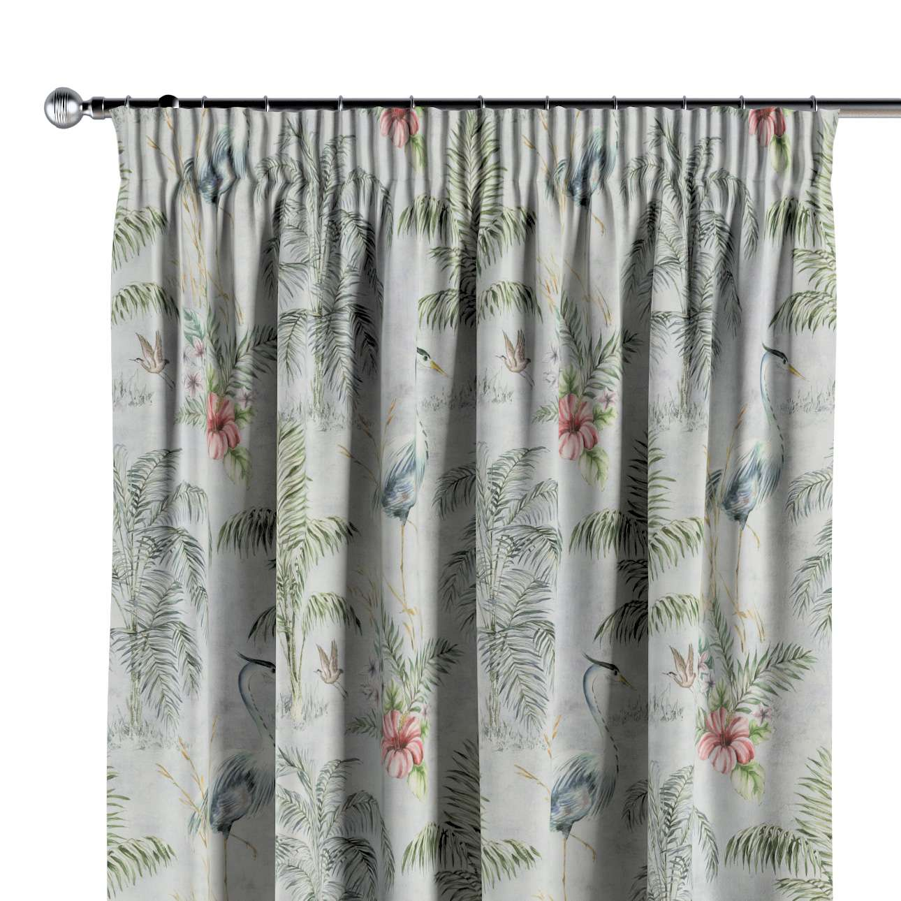 Pencil pleat curtains in collection Tropical Island, fabric: 142-58