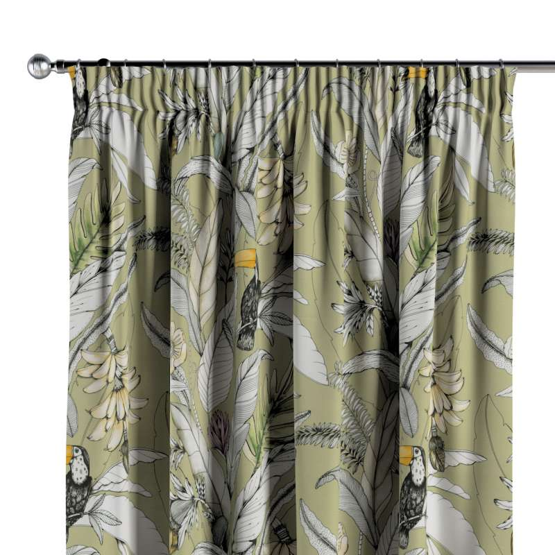 Pencil pleat curtains in collection Tropical Island, fabric: 142-65
