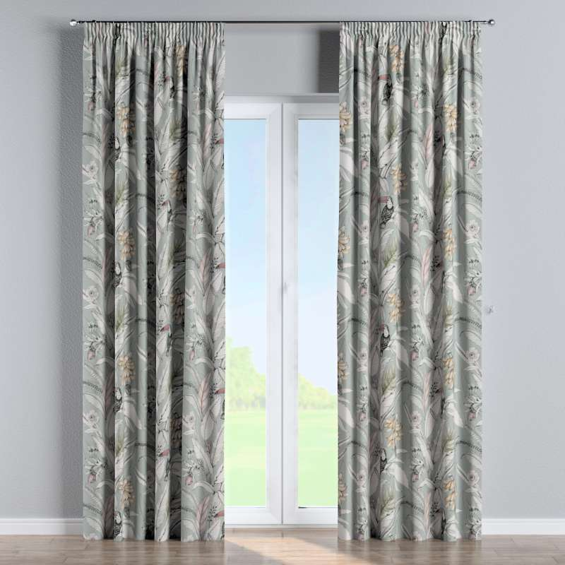 Pencil pleat curtain in collection Tropical Island, fabric: 142-64