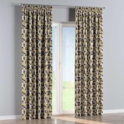 Vorhang mit Kräuselband 142-79 schwarz-beige-gelb Kollektion Modern