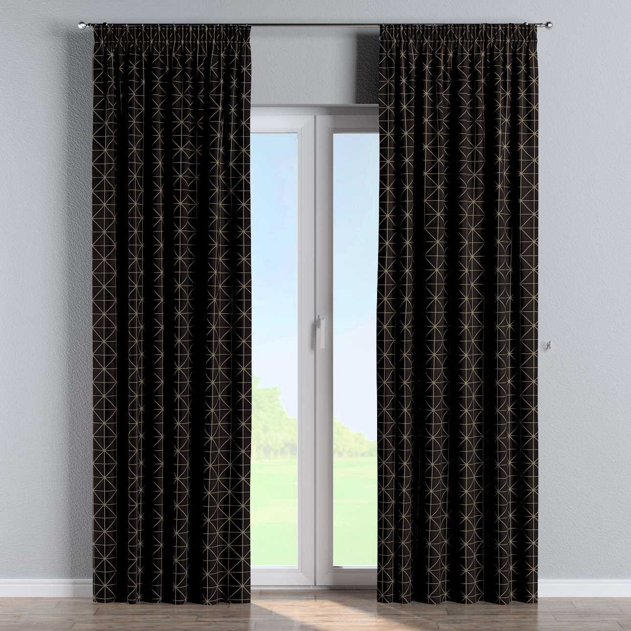 Pencil pleat curtains in collection Black & White, fabric: 142-55