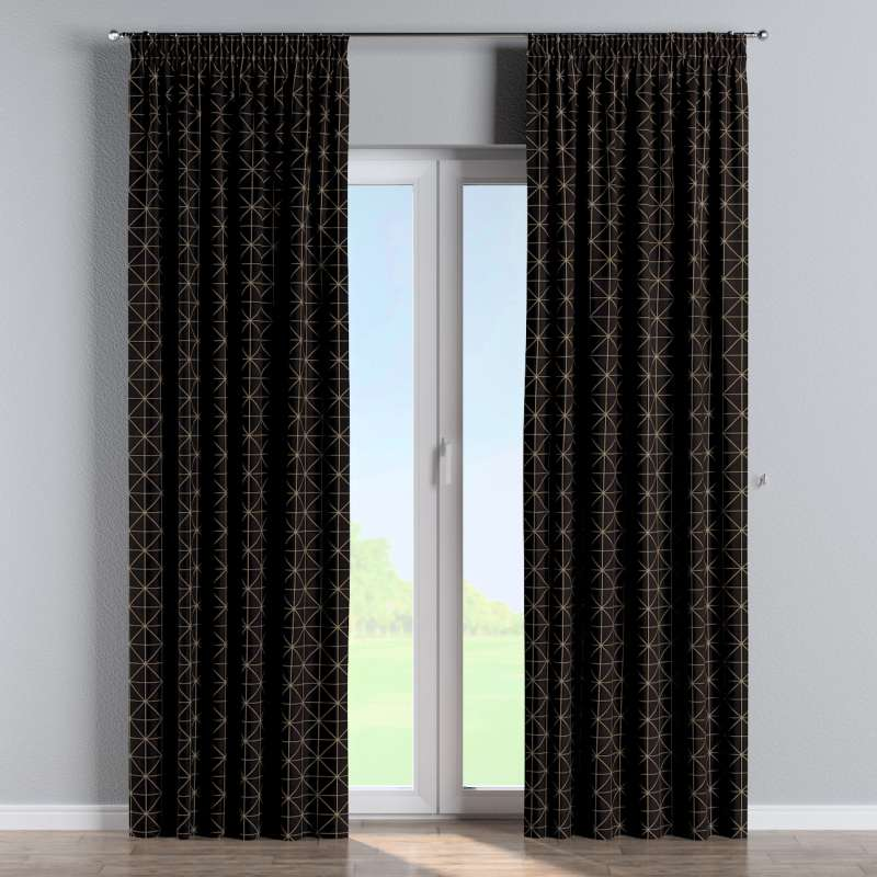 Pencil pleat curtain in collection Black & White, fabric: 142-55