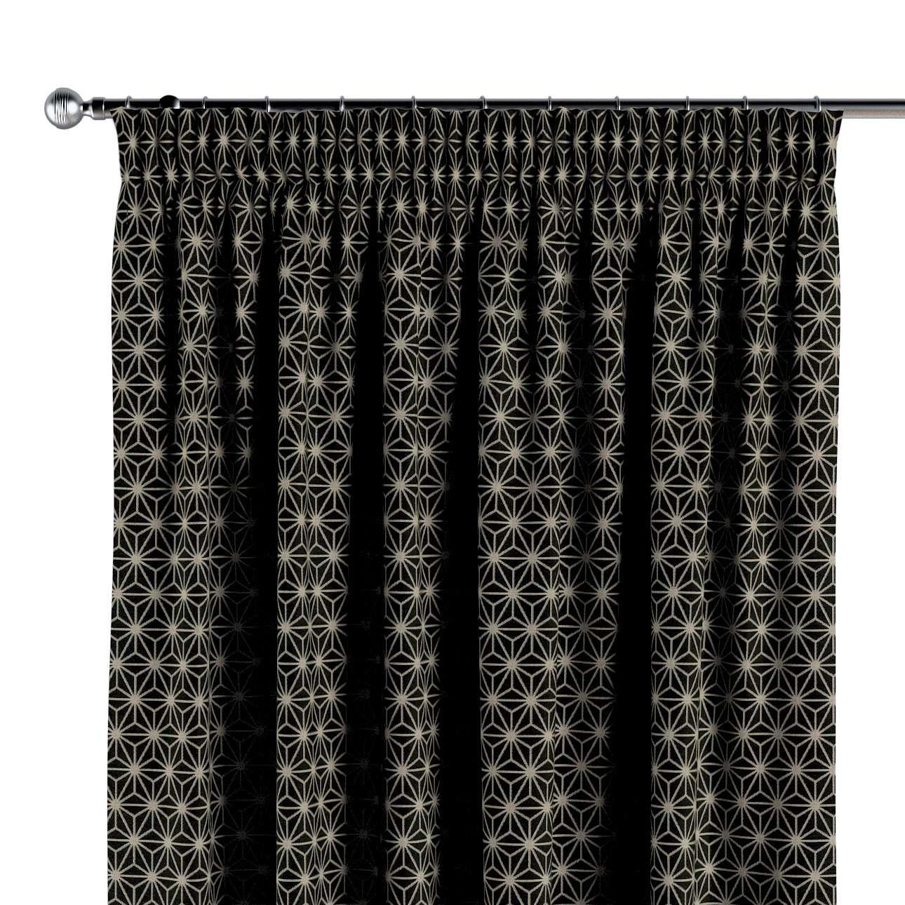 Gordijn met plooiband van de collectie Black & White, Stof: 142-56
