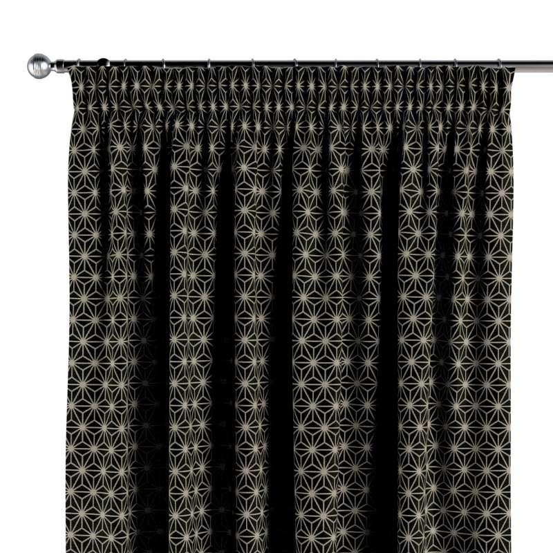 Gardin med rynkband 1 längd i kollektionen Black & White, Tyg: 142-56