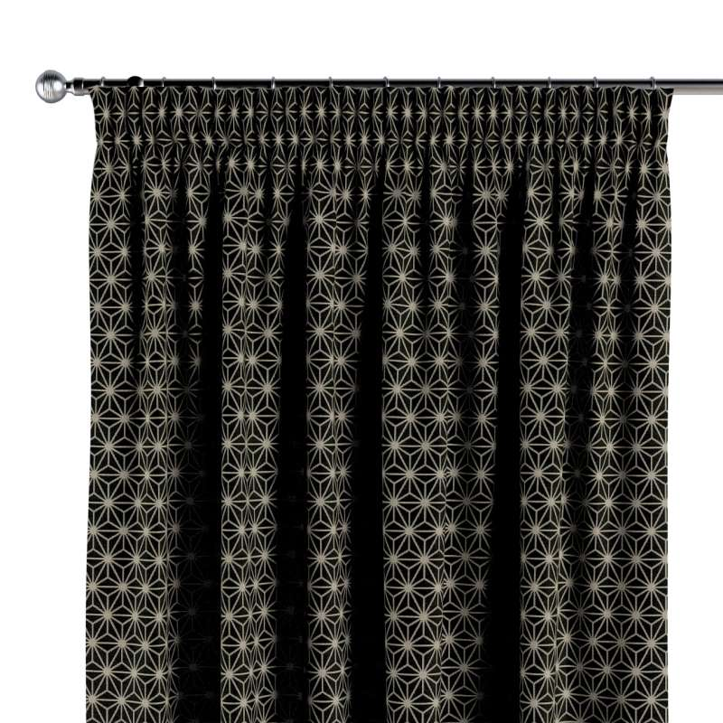 Pencil pleat curtain in collection Black & White, fabric: 142-56