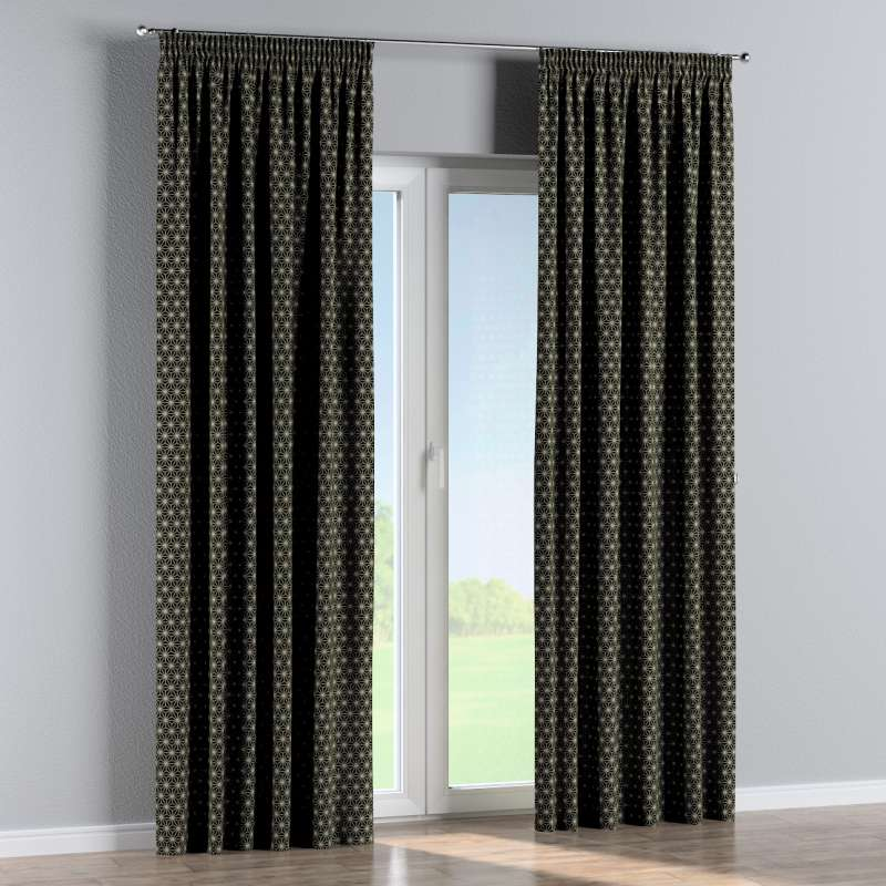 Pencil pleat curtains in collection Black & White, fabric: 142-56