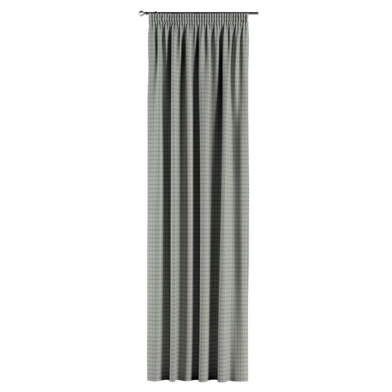 Gardin med rynkband 1 längd i kollektionen Black & White, Tyg: 142-76