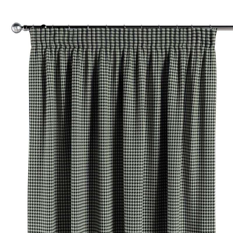 Gardin med rynkband 1 längd i kollektionen Black & White, Tyg: 142-77
