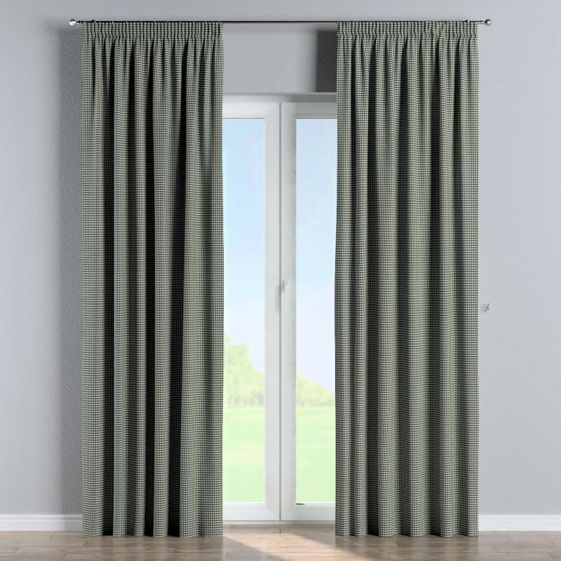 Pencil pleat curtain in collection Black & White, fabric: 142-77