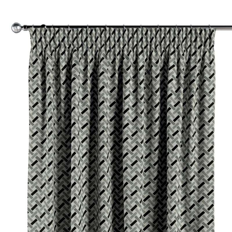 Gardin med rynkband 1 längd i kollektionen Black & White, Tyg: 142-78