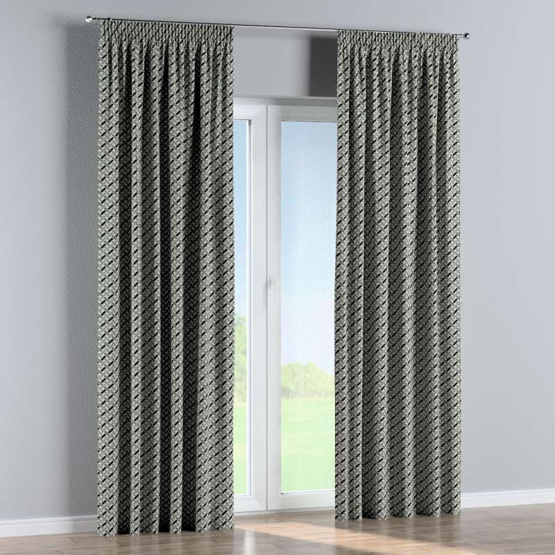 Pencil pleat curtains in collection Black & White, fabric: 142-78