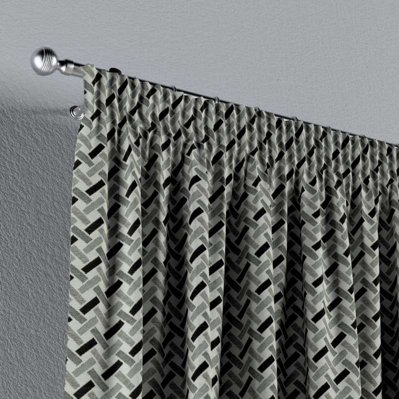 Pencil pleat curtain in collection Black & White, fabric: 142-78