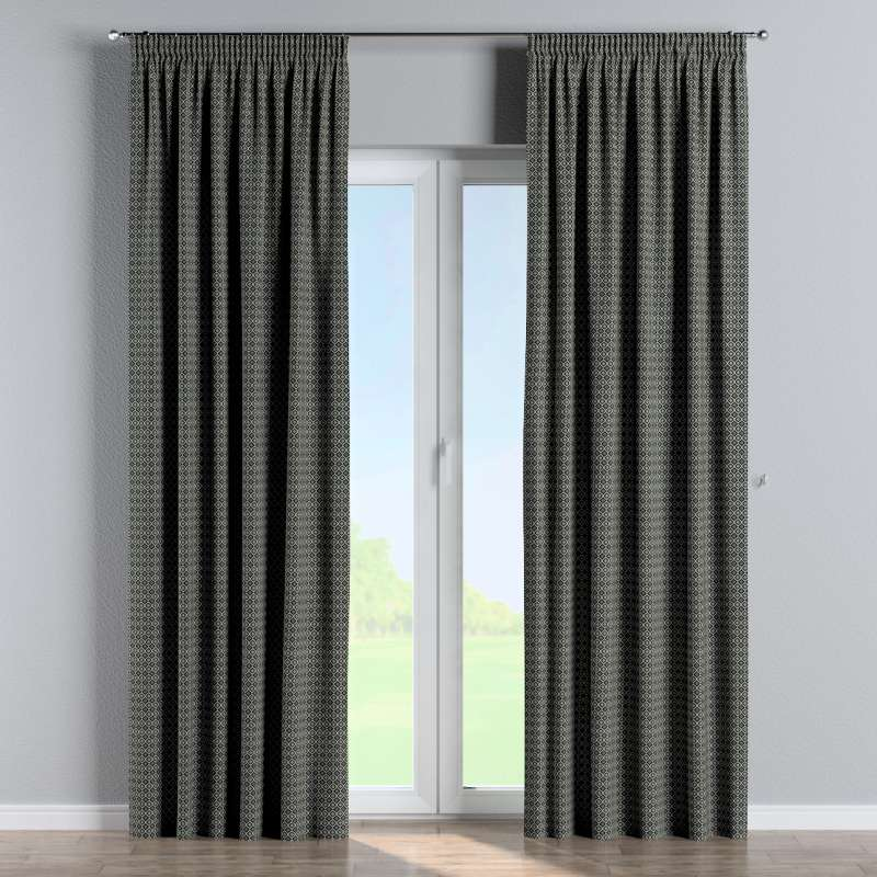Pencil pleat curtain in collection Black & White, fabric: 142-86