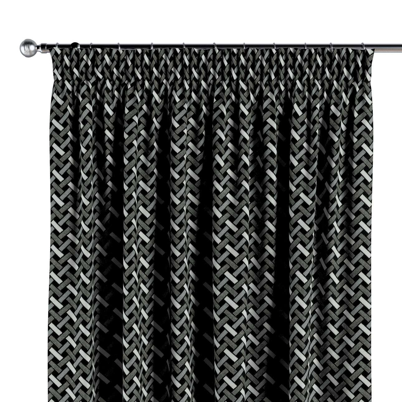 Gordijn met plooiband van de collectie Black & White, Stof: 142-87