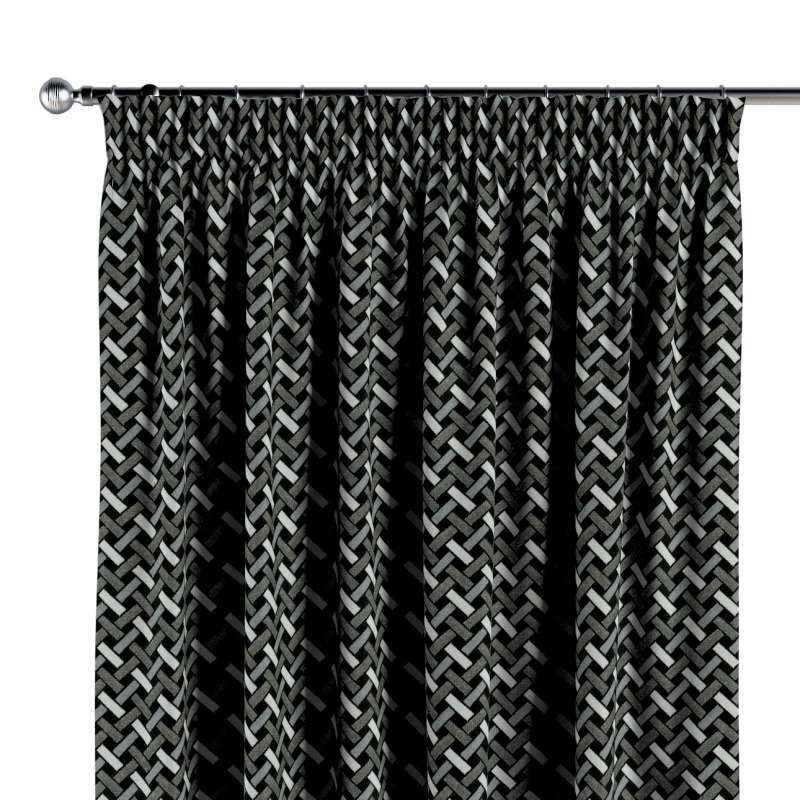 Gardin med rynkband 1 längd i kollektionen Black & White, Tyg: 142-87