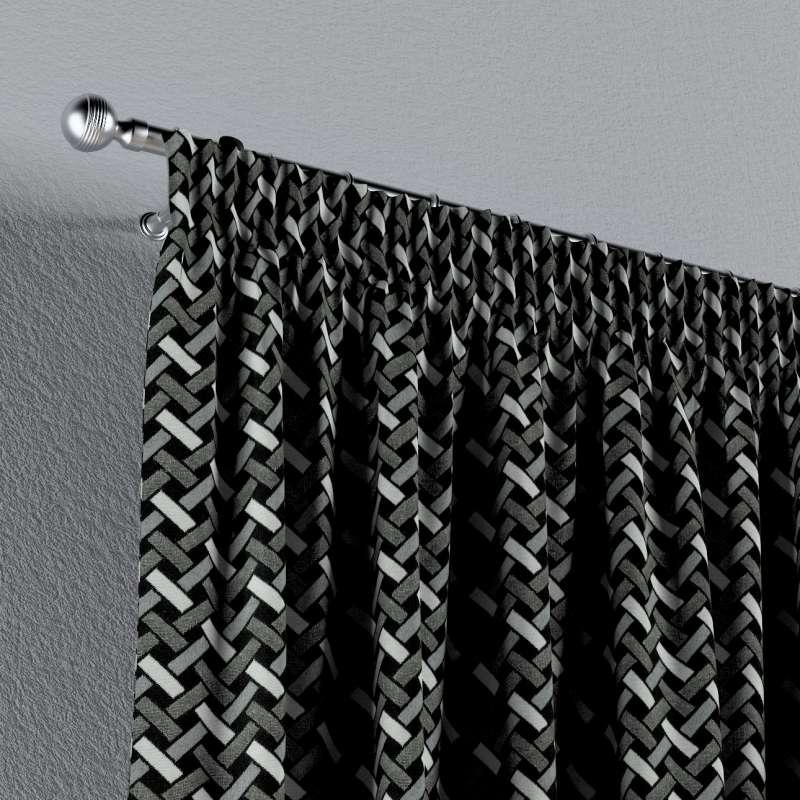 Záves na riasiacej páske V kolekcii Black & White, tkanina: 142-87