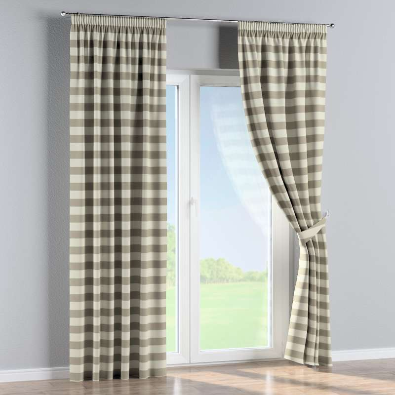 Pencil pleat curtain in collection Quadro, fabric: 142-73