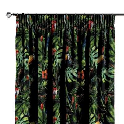 Függöny ráncolóval 704-28 zöld-piros motívumok fekete háttéren Méteráru Velvet  Lakástextil
