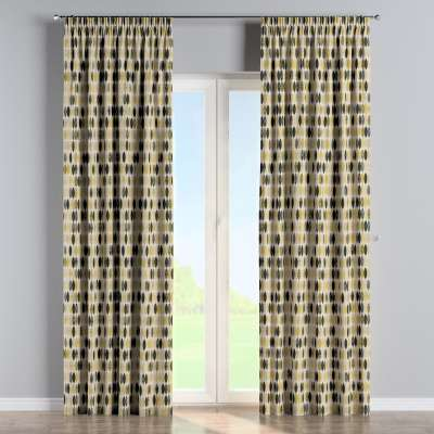 Pencil pleat curtain 142-99 mustard, black and beige patterns on a light background Collection Modern