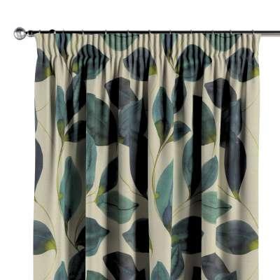 Gardin med rynkebånd 1 stk. 143-15 Naturhvit med print Kolleksjon Abigail