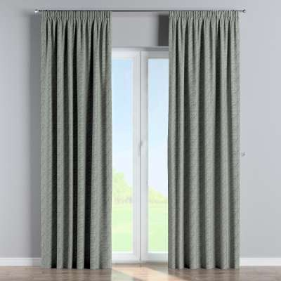 Pencil pleat curtain 143-13 gray-green patterns on a linen background Collection Comics/Geometrical