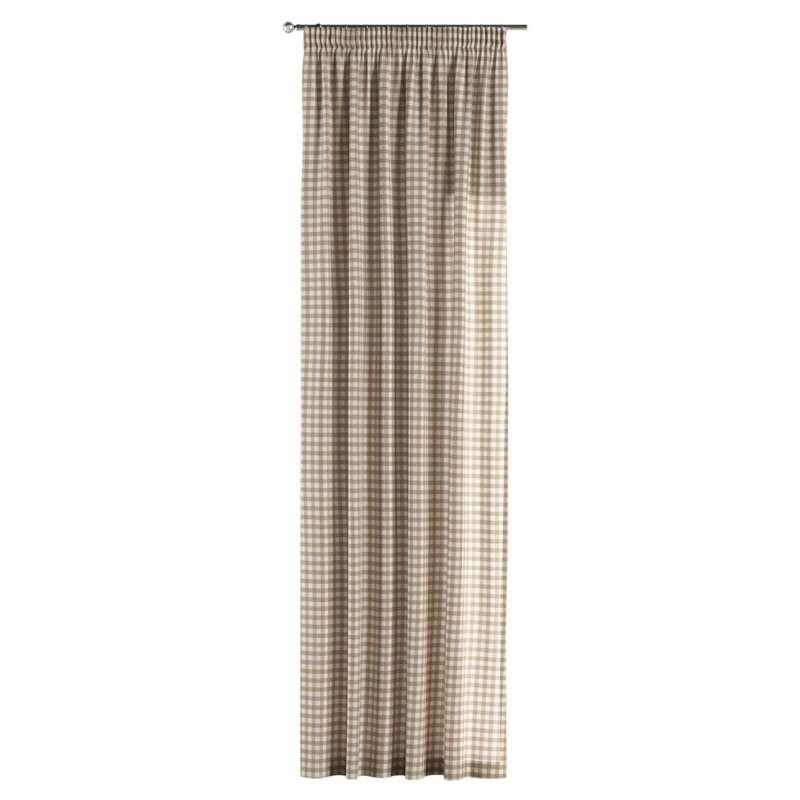 Gardin med rynkband 1 längd i kollektionen Quadro II, Tyg: 136-06