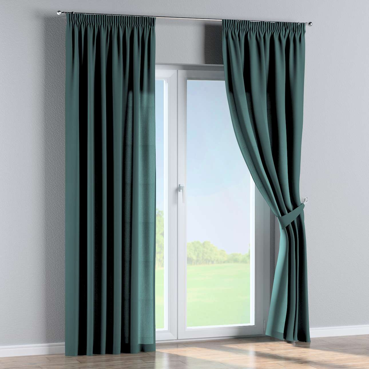 Pencil pleat curtains in collection Nature, fabric: 159-09