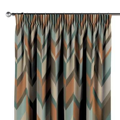 Vorhang mit Kräuselband 143-62 braun-blau-orange Kollektion Vintage 70's