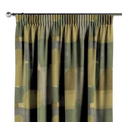 Függöny ráncolóval 143-72 geometryczne wzory w zielono-brązowej kolorystyce Méteráru Vintage 70's