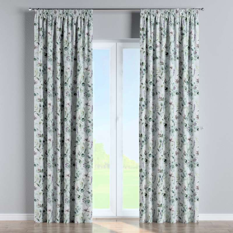 Pencil pleat curtain in collection Flowers, fabric: 143-66