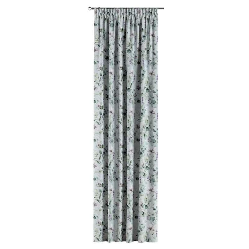 Gardin med rynkband 1 längd i kollektionen Flowers, Tyg: 143-66
