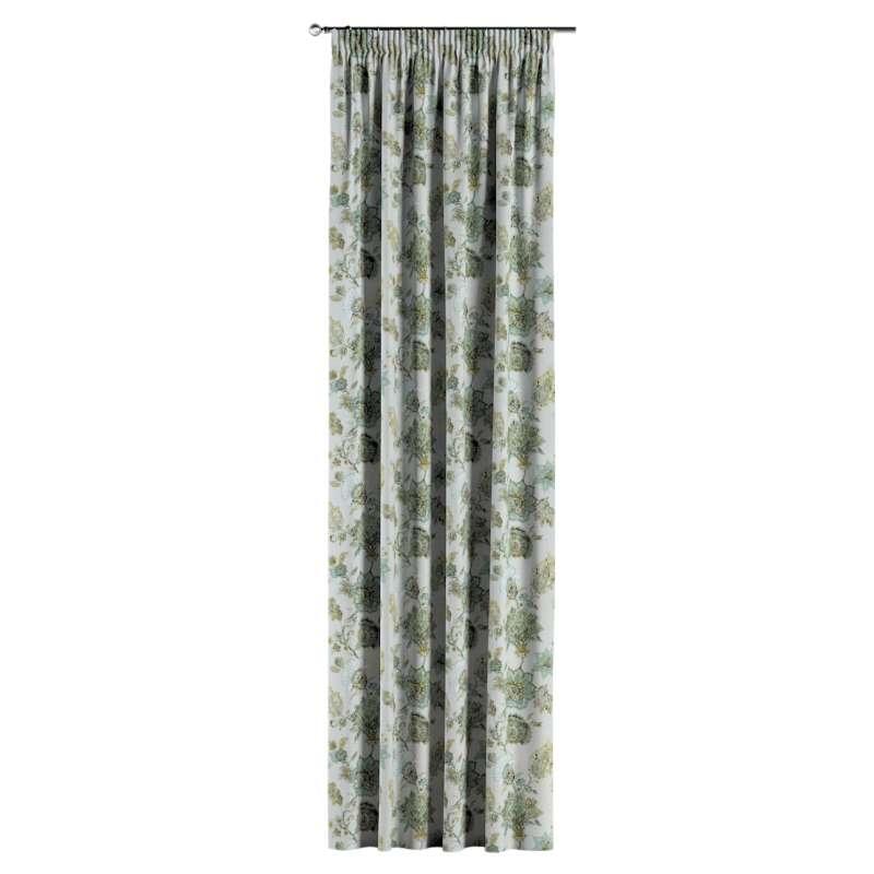 Gardin med rynkband 1 längd i kollektionen Flowers, Tyg: 143-67