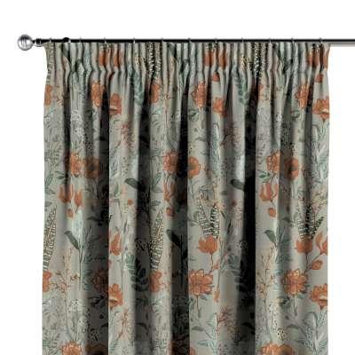 Vorhang mit Kräuselband 143-70 grau-orange-grün Kollektion Flowers