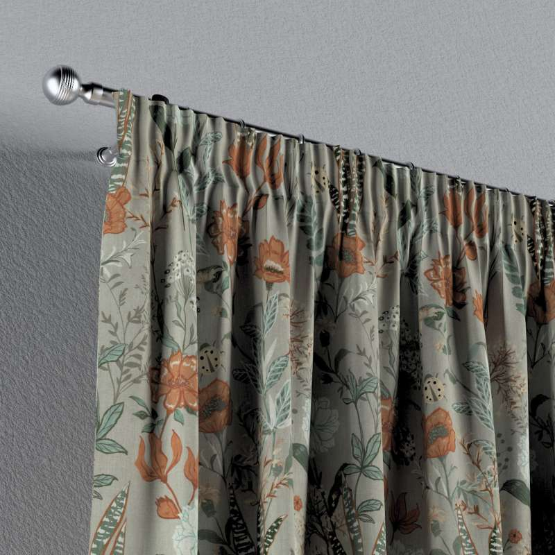 Pencil pleat curtain in collection Flowers, fabric: 143-70