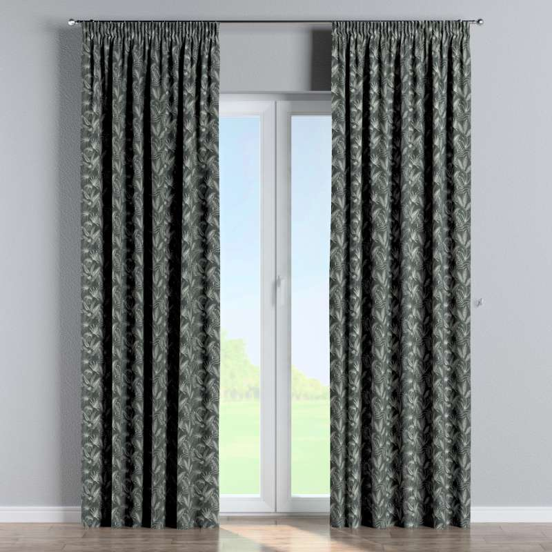 Pencil pleat curtain in collection Flowers, fabric: 143-73