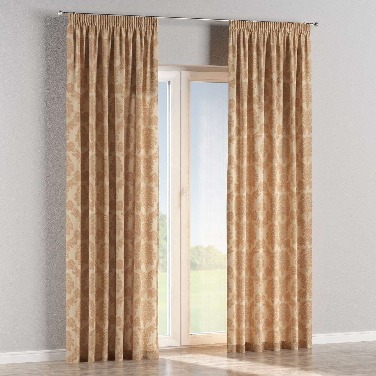 Pencil pleat curtains 130 x 260 cm (51 x 102 inch) in collection Damasco, fabric: 613-04