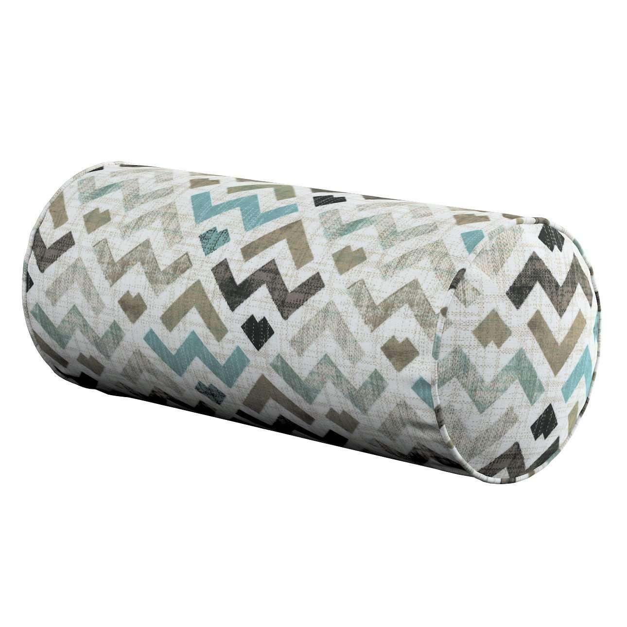 Einfache Nackenrolle, blau-beige, Ø 16 × 40 cm, Modern | Schlafzimmer > Kopfkissen | Dekoria