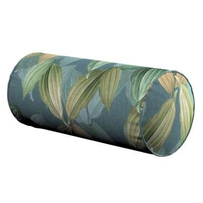 Poduszka wałek prosty 143-20 zielone, beżowe liście na niebiesko-zielonym tle Kolekcja Abigail