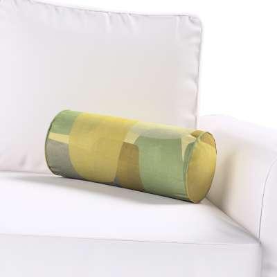 Poduszka wałek prosty 143-72 geometryczne wzory w zielono-brązowej kolorystyce Kolekcja Vintage 70's