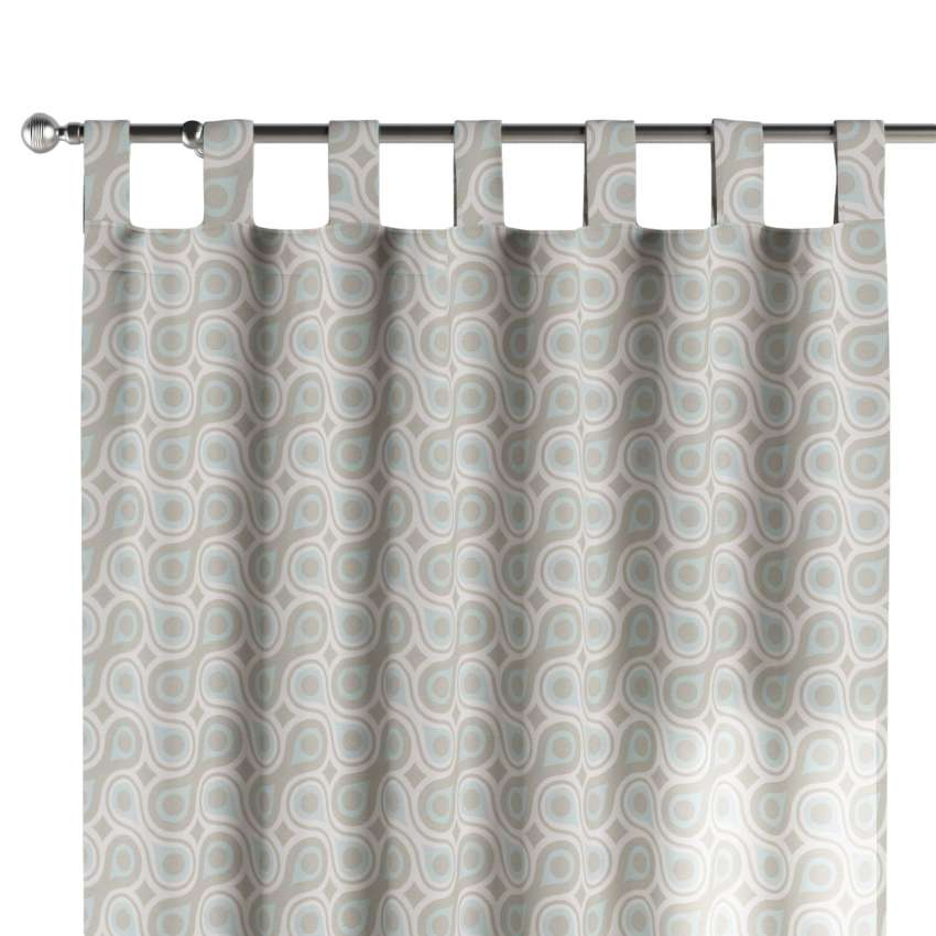 Tab Top Curtains Blue Gray Geometrical Patterns Dekoria