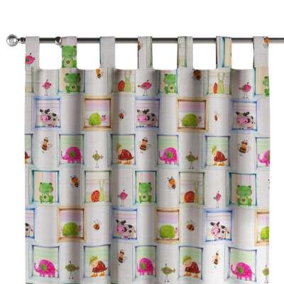 Zasłona na szelkach 1 szt. 151-04 kolorowe obrazki zwierzątek na szarym tle Kolekcja Little World