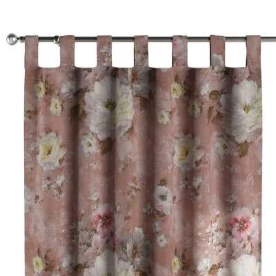 Záves na pútkach 137-83 krémove a ružové kvety na tmavo ružovom podklade Kolekcia Flowers
