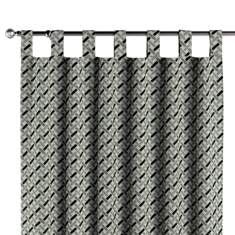 Gordijn met lussen van de collectie Black & White, Stof: 142-78
