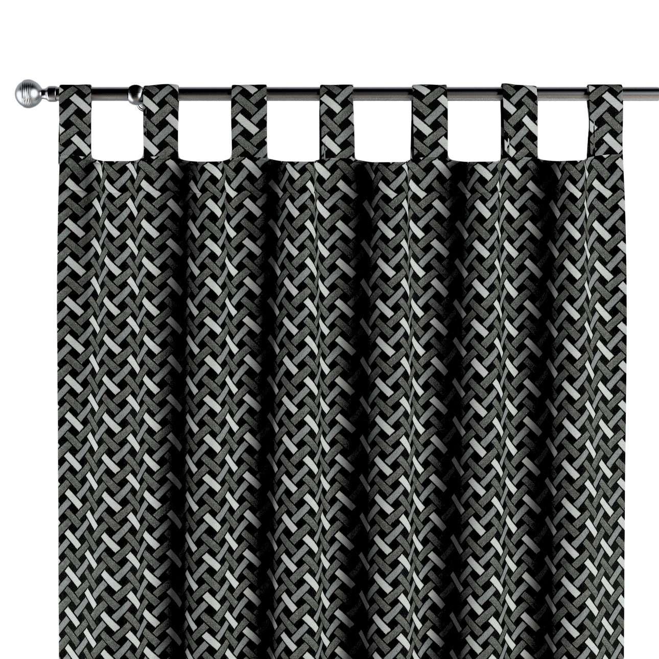 Gordijn met lussen van de collectie Black & White, Stof: 142-87