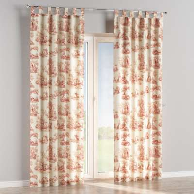 Tab top curtain 132-15 red characters, ivory background Collection Avinon