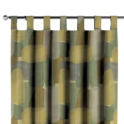 Zasłona na szelkach 1 szt. 143-72 geometryczne wzory w zielono-brązowej kolorystyce Kolekcja Vintage 70's